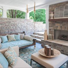 Back porch ... Omg I love it all! The swinging daybed is fab.. Love the rug too !