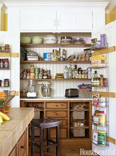 10 super clever kitchen storage ideas Hide clutter behind closed doors      In a Chicago kitchen designed by Mick De Giulio, all the clutter of the kitchen is hidden behind closed doors, which open to reveal an expansive pantry. The drawers are constructed out of the same honey-colored pine as the kitchen island. Pull-out willow baskets hold fruit and vegetables.