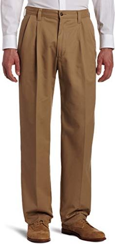 Abetteric Mens Oversized Flat Front Trousers Straight Work Plain-Front Pant