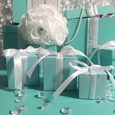 20 Tiffany theme 3x3x3 Blue Cupcake or Favor Boxes With Ribbon