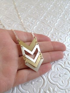 sterling silver mixed metal chevron necklace by AuroraBorealis11, $31.99