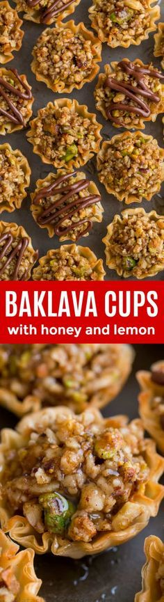 Mini Baklava Cups - taste like authentic baklava but easier! The honey and lemon syrup make these baklava cups completely irresistible! : natashaskitchen A make-ahead recipe sponsored by Just Desserts, Dessert Recipes, Lemon Syrup, Honey Lemon, Valentine Desserts, Christmas Desserts, Low Carb Cheesecake, Cannoli, Snacks
