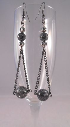 Dark Chain and Bead Dangling Drops - http://www.etsy.com/shop/ElohiNaturalJewelry