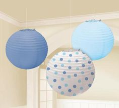 Shout it from the rooftops and adorn the ceilings with these boys baby shower hanging decorations that are sure to add dimension to your party theme. Our Baby Boy Round Paper Lanterns include one light blue lantern, one medium blue lantern and one white l White Lanterns, Paper Lanterns, Lantern Decorations, Paper Decorations, Baby Shower Parties, Baby Boy Shower, Baby Showers, Shower Party, Wholesale Party Supplies