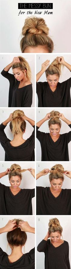 Cool and Easy DIY Hairstyles - Messy Bun - Quick and Easy Ideas for Back to School Styles for Medium, Short and Long Hair - Fun Tips and Best Step by Step Tutorials for Teens, Prom, Weddings, Special Occasions and Work. Up dos, Braids, Top Knots and Buns,