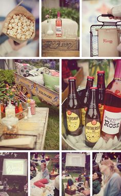 "Ok, what I love about this ""outdoor cinema party"" photo is: labelled homebrew & coloured crown seals, pop corn, labelled soft drink in glass bottles (could maybe try some alcopop water and use flavoured syrups to flavour however guests please!) Also love the picnic rugs and cussions. This would be a cool setup for a twilight movie on the weekend wedding followed by a bonfire or something."