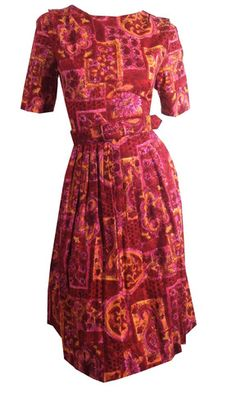 Hot Pink and Orange Print Cotton Dress circa 1960s - Dorothea's Closet Vintage