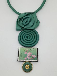 Green Versace satin statement necklace with pendant composed