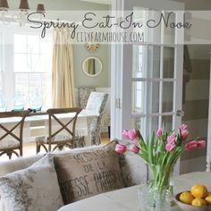 Love her styling choices.....Spring Eat In Nook & Dining Room {City Farmhouse} Feature