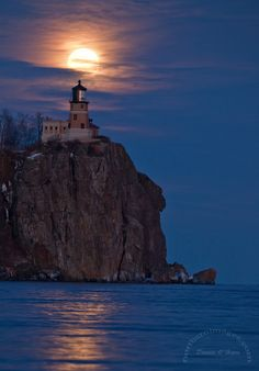 Moonlit Split Rock Lighthouse, Silver Bay,Minnesota, most visited lighthouse in the United States