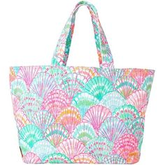 Lilly Pulitzer Print Canvas Beach Tote ($88) ❤ liked on Polyvore featuring bags, handbags, tote bags, multi shello, travel purse, canvas beach tote, lilly pulitzer tote bag, summer totes and beach tote bags