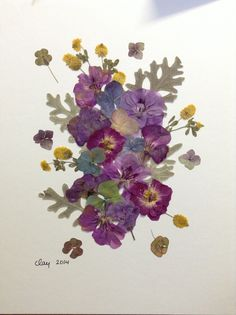 SOLD - Pressed flower art, violet beauty, with flowers from Alaska, Turkey, the Pacific Northwest, and picked locally.