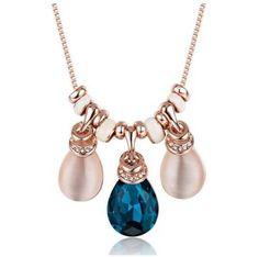Dazzling Deryn Golden Blue Crystal Necklace