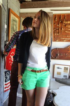 Summery green shorts with the perfect white tank // Classy Girls Wear Pearls Belted Shorts Outfits, Green Shorts Outfit, Mint Shorts, Short Outfits, Cool Outfits, Fashion Outfits, Simple Outfits, Casual Outfits, Women's Fashion