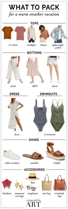 Beach Vacation Packing List what to pack for a warm weather vacation Beach Vacation Packing List, Beach Vacation Outfits, Travel Outfit Summer, Beach Vacations, Travel Outfits, Beach Travel, Summer Travel, Winter Outfits For Work, Summer Outfits