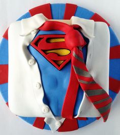 Superman Birthday Cake - For all your cake decorating supplies, please visit… Gorgeous Cakes, Pretty Cakes, Cute Cakes, Amazing Cakes, Fondant Cakes, Cupcake Cakes, Superman Cakes, Superman Logo, Superman Birthday