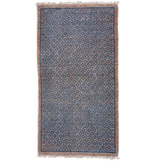 Geometric Baotou Inner Mongolian Sitting Rug With Brocade Pattern | From a unique collection of antique and modern chinese and east asian rugs at http://www.1stdibs.com/furniture/rugs-carpets/chinese-rugs/
