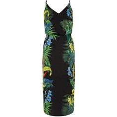 TROPICAL PLACEMENT MIDI DRESS (290 RON) ❤ liked on Polyvore featuring dresses, strap dress, print midi dress, day summer dresses, strappy dress and slip on dress
