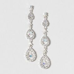 Make jaws drop at prom with drop earrings! Silver & Crystal Ovals Drop Earrings #prettylittlepieces