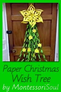 MontessoriSoul: Beautiful paper craft Christmas tree with added stars where children write their Christmas wishes... See how to make it with simple pictorial guide.