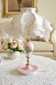 Gorgeous Vintage Pink Porcelain Lamp with Ruffled by Jenneliserose