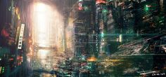 """Cyberpunk visuals, ideally, are dirty, hyper-realistic """"lived in"""" looks at the near future. Often cyberpunk films will have a single dominating color that permeates the film. We also see patterns of dark motifs contrasted with shocking neon color schemes.   art: """"metropolitanby"""" vofff"""