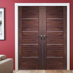 Portici Walnut Flush Door Pair, stunning looks with an inlay, stylish, solid and a nice range of sizes. Dark Doors, White Doors, Painted Doors, Wooden Doors, Wooden Double Doors, Gate Design, Door Design, House Design, Internal Double Doors