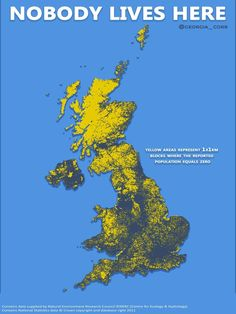 Nobody Lives Here: Map of the United Kingdom showing areas where population equals zero Map Of Britain, Kingdom Of Great Britain, Geography Map, World Geography, Life Map, Old Maps, Historical Maps, British History, History Facts