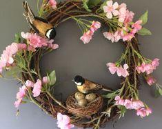 bridal wedding flowers and wreaths Door Wreaths, Grapevine Wreath, Spring Blossom, Front Door Decor, Decor Crafts, Home Decor, Grape Vines, Color Schemes, Etsy