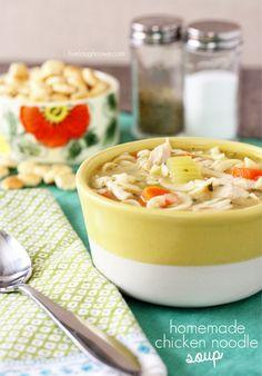 Homemade Chicken Noodle Soup with livelaughrowe.com
