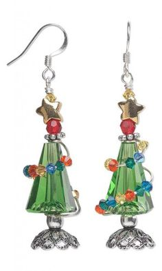 Christmas Tree Earrings with Swarovski Crystal Beads and Wire Wrap