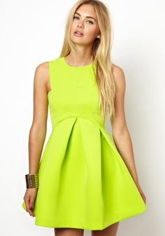 Yellow Plain Round Neck Sleeveless Wrap Chiffon Dress