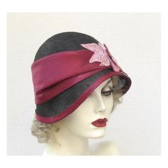 Womens Hat 1920's Flapper Hats Cloche Millinery Straw Hat for Summer in Black and Wine Red ($215) found on Polyvore