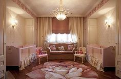 i think this is a girl's nursery.. for twins? i dont know but this room is adorable..