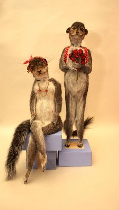 Adorable little British squirrel people that Adele Morse created for the Crap Taxidermy book.