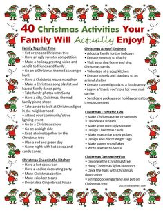 40 Christmas Activities Your Family Will Really Enjoy - Kiddie Matters - Joyeux Noel Christmas Countdown, 25 Days Of Christmas, Christmas Party Games, Winter Christmas, Christmas Decorations, Christmas Crafts, Christmas Planning, Christmas Advent Ideas, Christmas Ideas For Kids