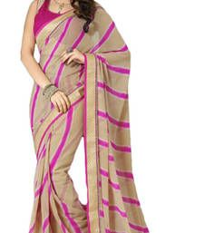 Buy Beige and Pink printed polyester saree with blouse bandhani-sarees-bandhej online
