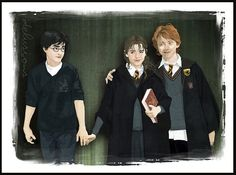 Harry, Ron and Hermione. I love them. Happy Birthday Hermione Granger! (19th september)