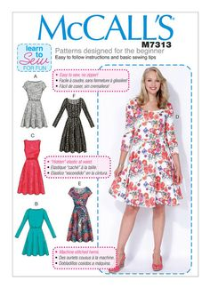 M7313  Misses'/Women's Flared Dresses Early Spring 2016