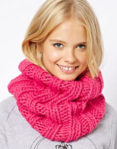 ★ I N S P I R A T I O N Asos Curve Asos Funnel Knit Snood in Pink