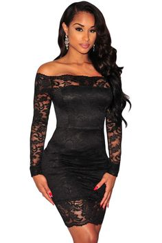 Black Lace Off Shoulder Dress LAVELIQ Material: 95%Polyester+5%Spandex Size: (Us 4-6)S,(Us 8-10)M,(Us 12-14)L Color: Black Style: Brief, Cute, Club, Sexy Occasion: Night Club, Autumn Pattern: Solid Ne