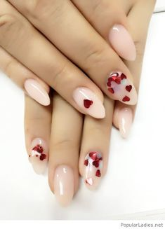 White nails and red hearts
