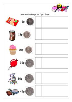 How much change do I receieve? Teaching Resources, Worksheets, Change, Writing, How To Plan, Math, Mathematics, Math Resources, Literacy Centers