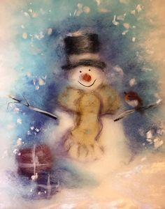 Доброго дня , дорогие друзья,влюбленные в шерсть! Хочу вам показать небольшую зимнюю зарисовку). Снеговичок, выполненный в технике живопись шерстью, который теперь красуется на диванной подушечке.