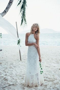halter beach boho wedding dress