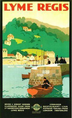 Vintage Railway Travel Poster - Lyme Regis - UK.