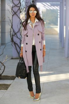 lavendar trench, leather pants and aviators  Stunning outfit - such a beautiful coat, I love how the shoes match the glasses, I adoreee this