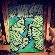 a-flutter by Melanie Jacobs of Aurynge & Lemony Original mixed media on wrapped canvas Energy Drinks, Wrapped Canvas, Mixed Media, Canning, The Originals, Art, Craft Art, Kunst, Gcse Art