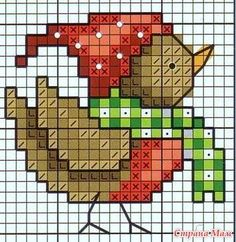 Christmas bird cross stitch.