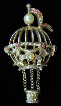 1928 Jewelry Pin Hot Air Balloon Silvertone Faux Pearls Dangle Basket  | eBay